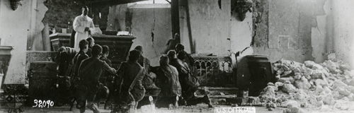 Religious service in a partially destroyed building during World War One