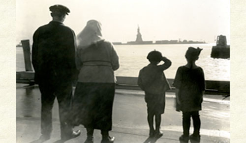 Immigrant family arriving at Ellis Island